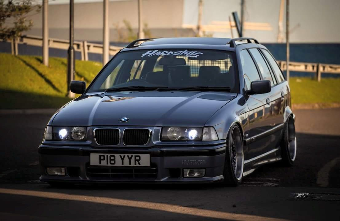 medium resolution of steel blue metallic bmw e36 touring on oem bmw styling 5 bbc rc wheels