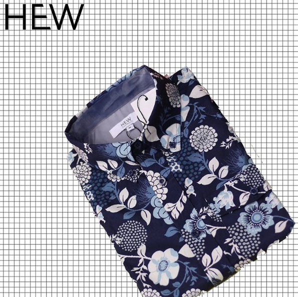 HEW Menswear SS16/17 collection. Relax Oxford with pocket. Carafloral print by textile designer Eliza O'Sullivan. Grey contrast fabric featured under cuff and tab. $119 #hewclothing #printedshirt #hewman #menswear