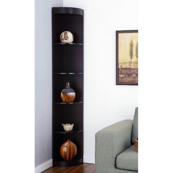 Bookcases For Kids Tall Narrow Corner Shelf Five Shelves Display Stand Bookshelf FurnitureofAmerica