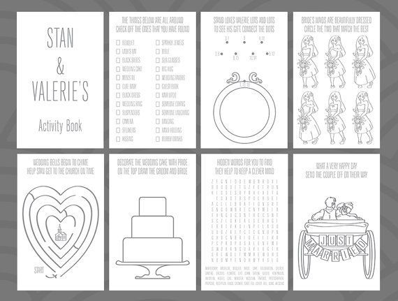 Wedding Activity Book Design By Divertenti On Etsy Mais
