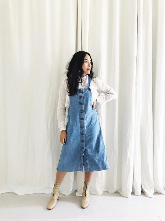 Vintage 70s Denim Jean Button Down Overalls Jumper Dress Overalls Fashion Jumper Dress 70s Denim
