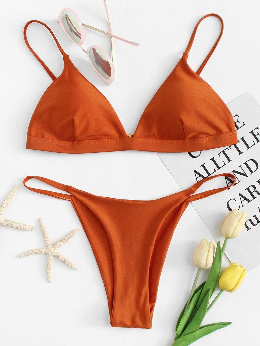 Vlak Oranje Zwempak -Dutch SHEIN(SHEINSIDE) Bikini Set 66c33f26e0f54