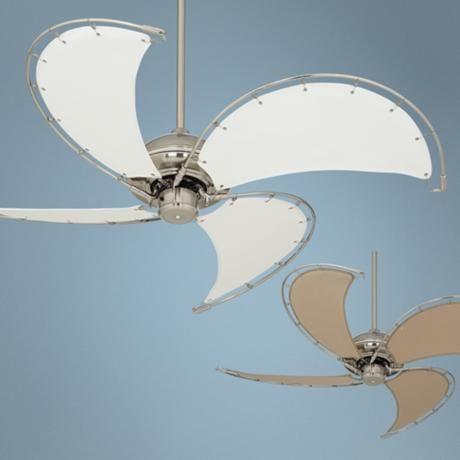 52 Aerial Brushed Nickel Canvas Blade Ceiling Fan Y7860 Lamps Plus Ceiling Fan Ceiling Fan With Light Ceiling Fan Light Kit