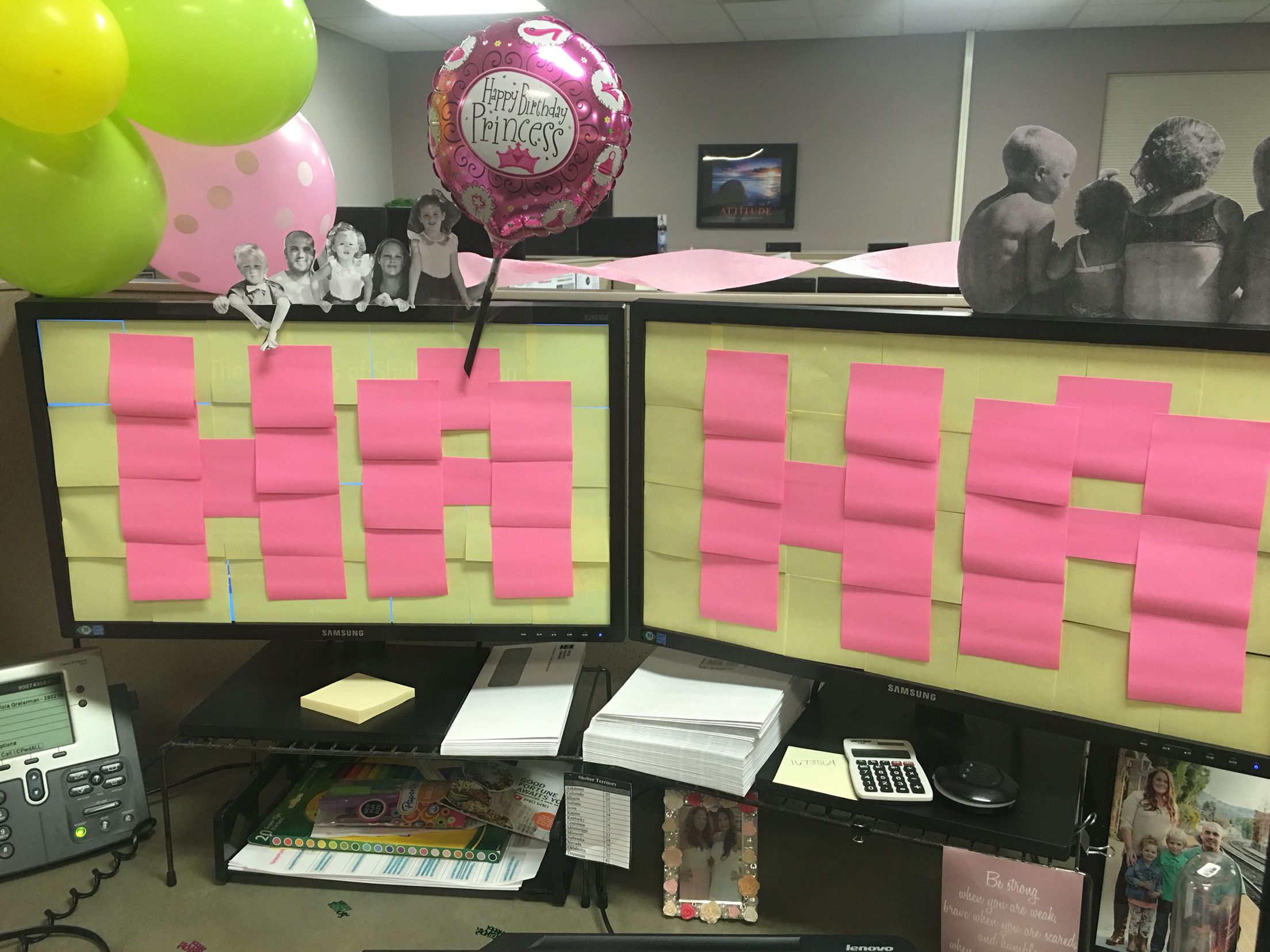 Work decoration birthday cubicle balloon sticky note Cubicle desk decorating ideas