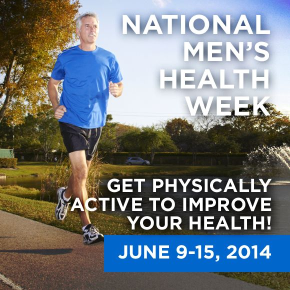 Get Active! Adults need at least 2.5 hours a week of physical activity. Walking briskly, mowing the lawn, playing team sports, and biking are just a few examples of how men can get moving. If you are not already physically active, you don't have to do it all at once. Spread your activity out during the week.. #MensHealthWeek #MHW14