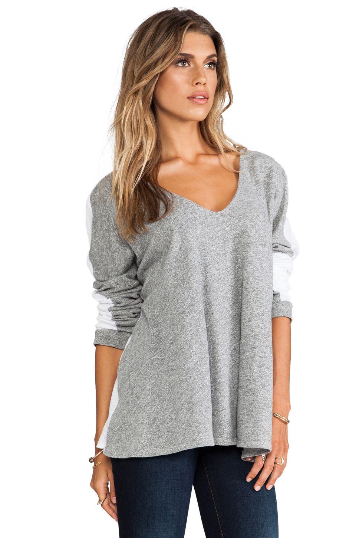 Daftbird Fabric Block V Sweatshirt in Heather Grey/White