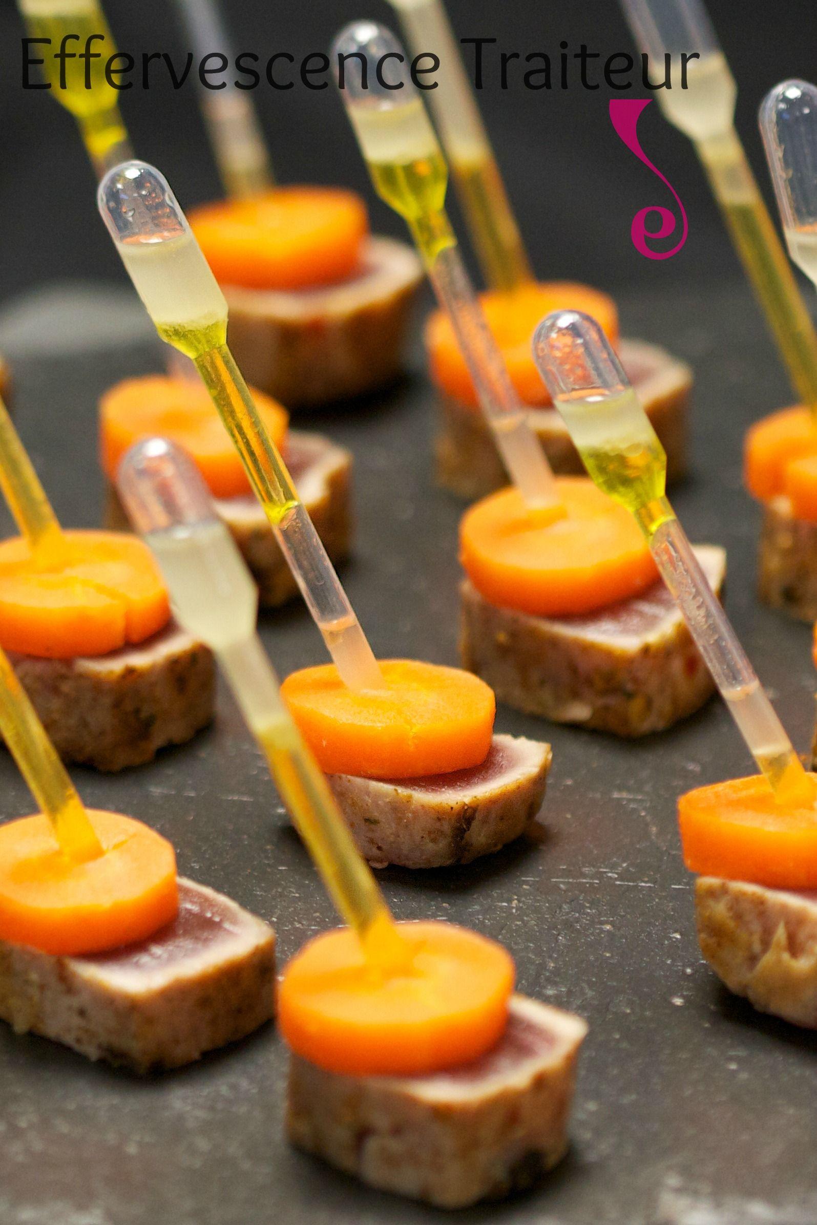 tataki de thon et carotte pipette de vinaigrette au gingembre canapes amuse tapas. Black Bedroom Furniture Sets. Home Design Ideas