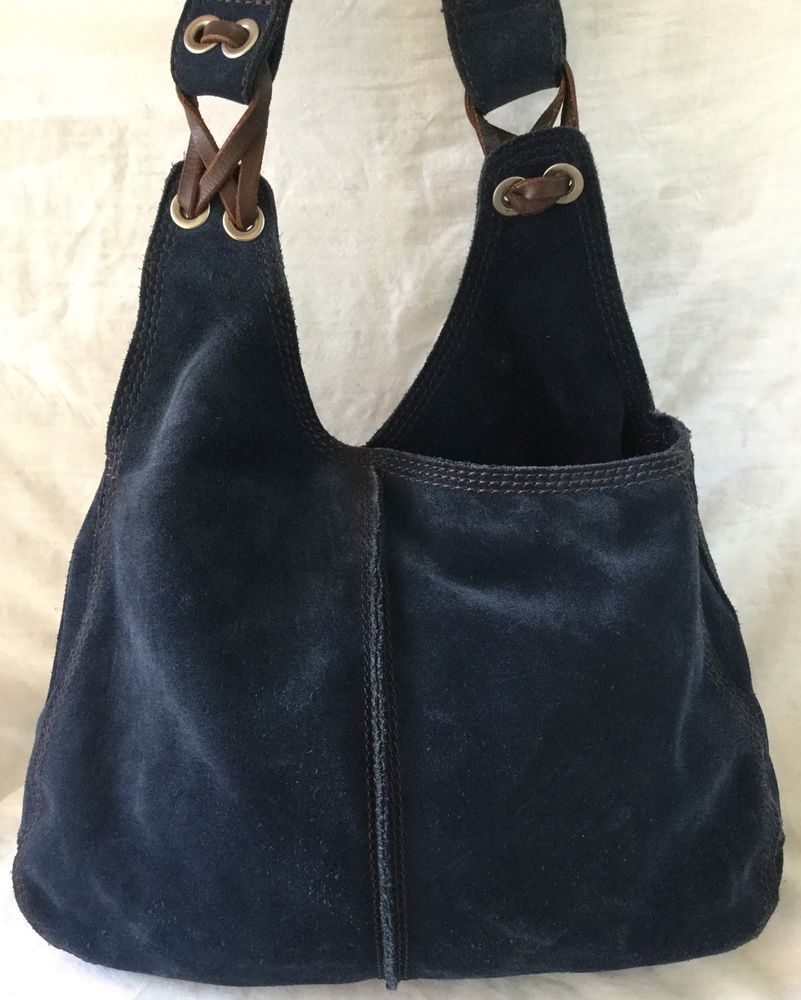 Lucky Brand Navy Suede Bucket Hippie Bag Great Condition In Clothing Shoes Accessories Women S Handbags Bags Purses Ebay