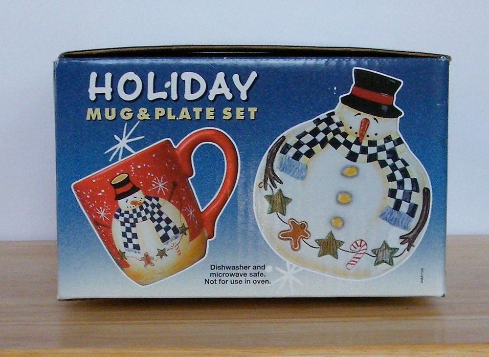 Becca Barton Snowman Holiday Mug and Plate Set Certified ...