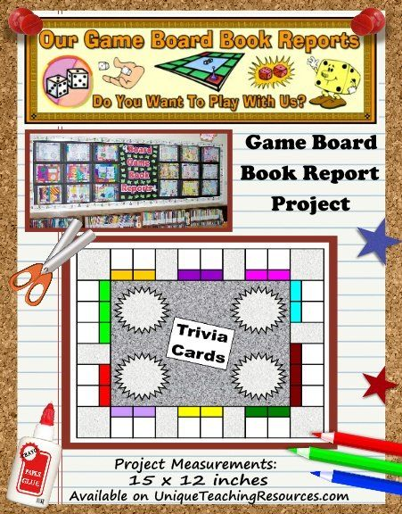 Game Board Book Report Project templates, worksheets, grading - cereal box book report sample