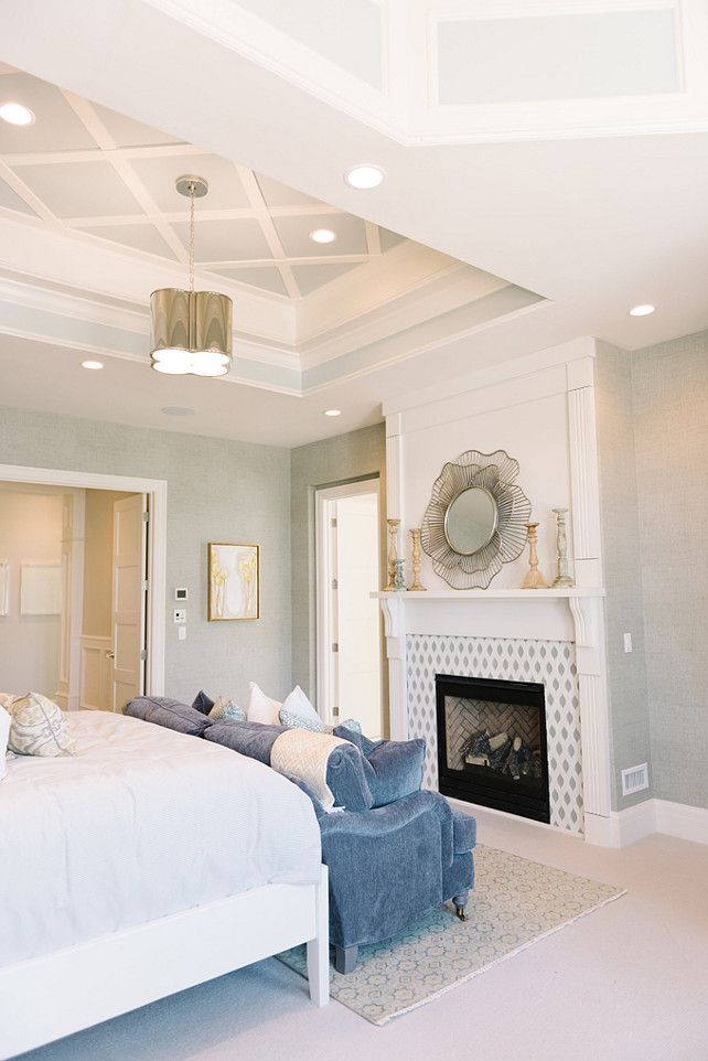 Inspiring Family Home Interiors Master Bedroom Fireplace With Mantel