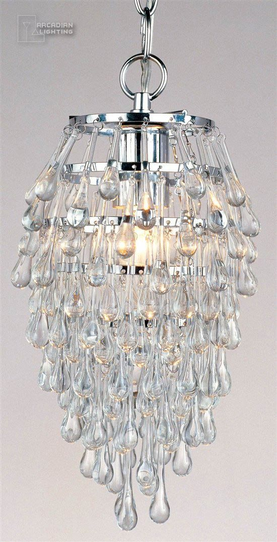 Crystal Clear Teardrop Contemporary Foyer Light Mini Chandelier