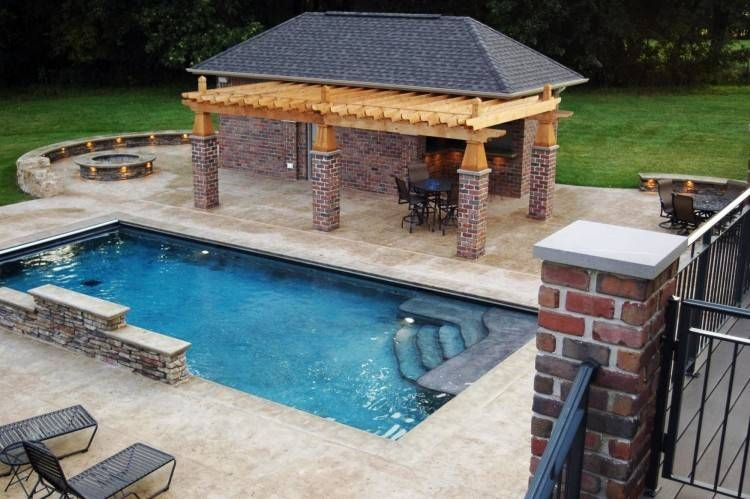 Rectangular Pool Design With Fire Pit Rectangular Pool Inground Pool Designs Backyard Pool Designs