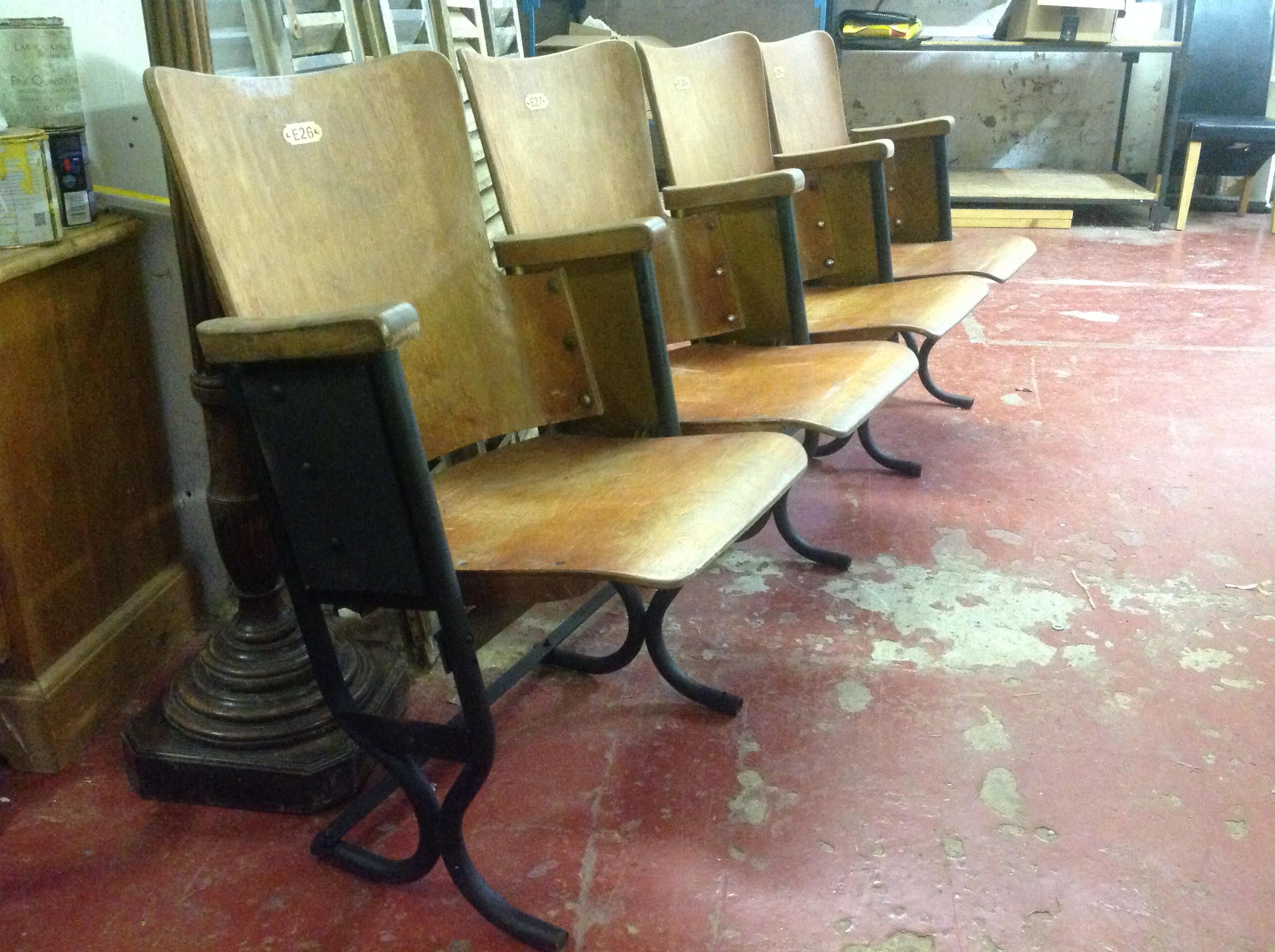 Fine Four Vintage Cinema Theatre Picture House Seats Industrial Caraccident5 Cool Chair Designs And Ideas Caraccident5Info