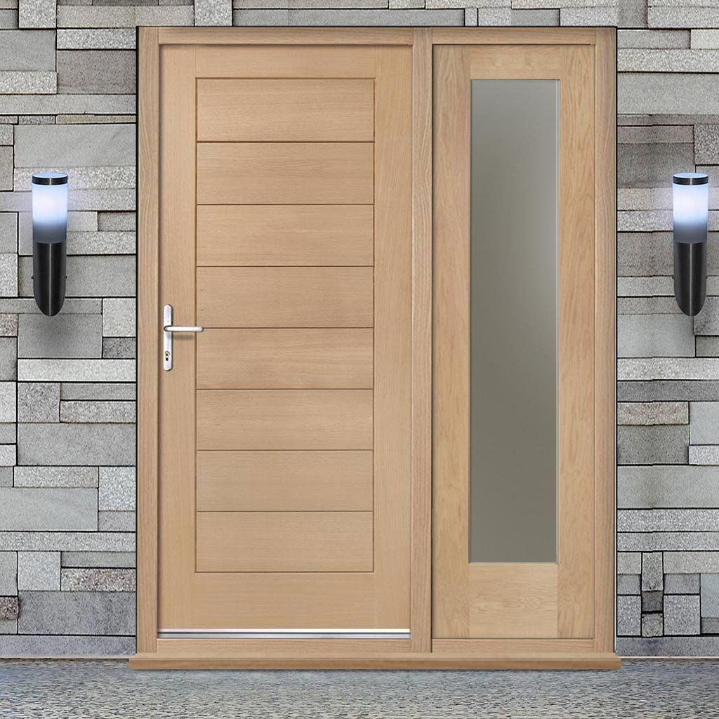 Modena Exterior Flush Oak Door And Frame Set One Side Screen Frosted Double Glazing Oak Doors Double Glazing Flush Doors