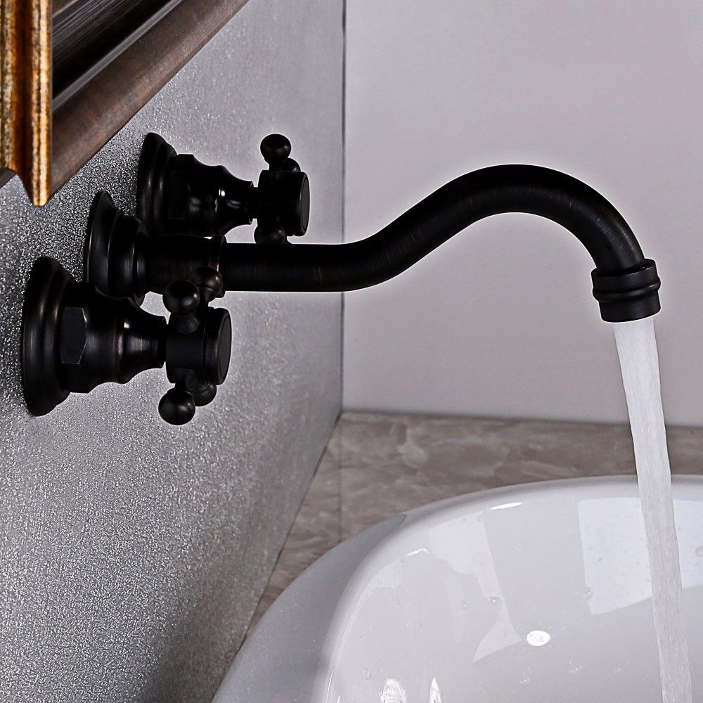Chester Antique Black Solid Brass Widespread Sink Faucet Wall Mount ...