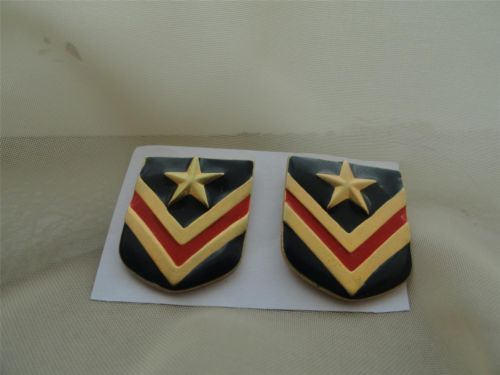 Vintage Military Metal Patches Badges Earrings
