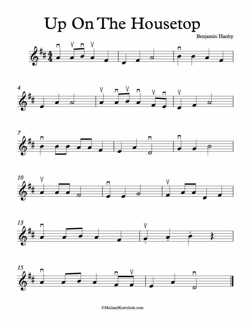 Here Is Free Violin Sheet Music For Up On The Housetop In The Keys
