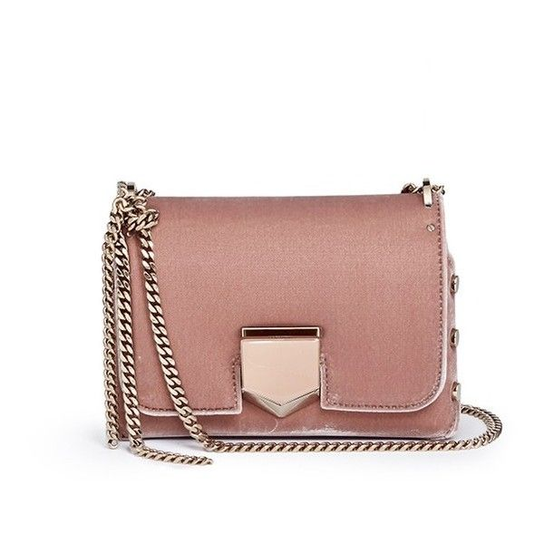 1d16718f93a Jimmy Choo 'Lockett Petite' stud velvet crossbody bag (6.825 HRK) ❤ liked  on Polyvore featuring bags, handbags, shoulder bags, pink, jimmy choo  crossbody, ...