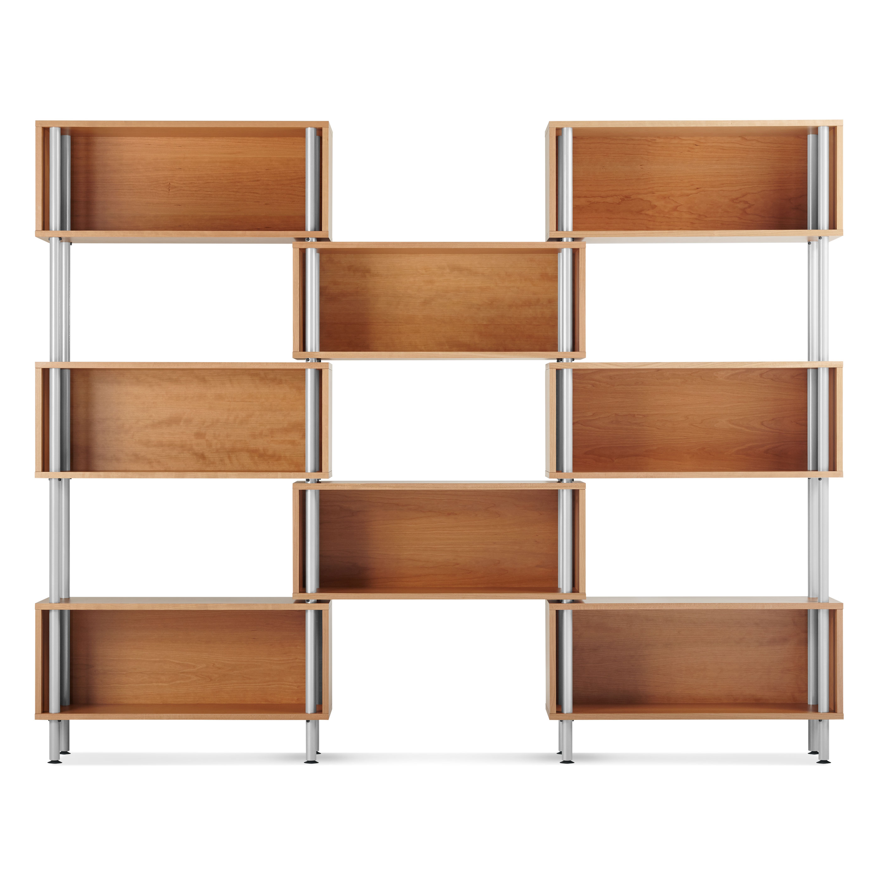 The Chicago 8 Box Shelving Unit Features Eight Floating Wood Boxes Supported By Powder Coated Tubular Steel Legs Shop Modern Units At Blu Dot