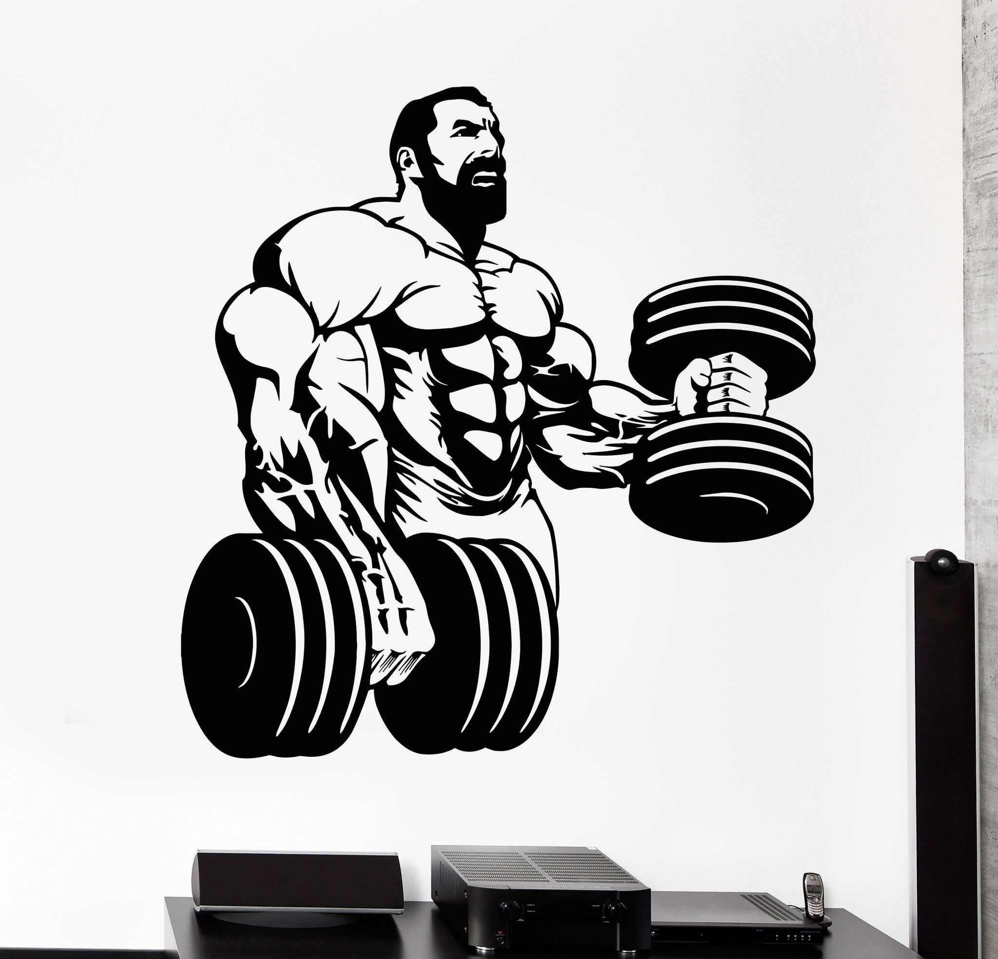 vinyl wall decal powerlifting gym beautiful body muscle on wall logo decal id=23489
