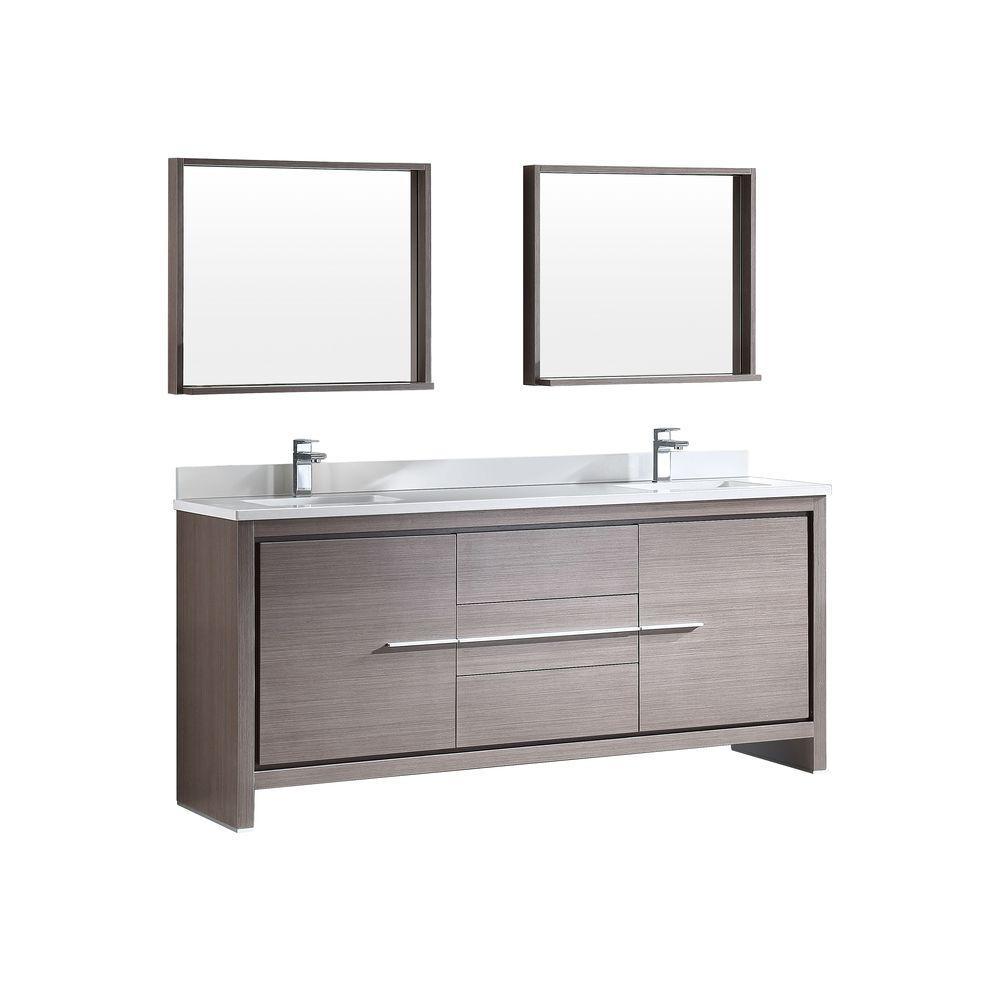 Fresca Allier 72 In Double Vanity In Gray Oak With Glass Stone Vanity Top In White And Bathroom Sink Vanity Modern Bathroom Vanity Double Sink Bathroom Vanity