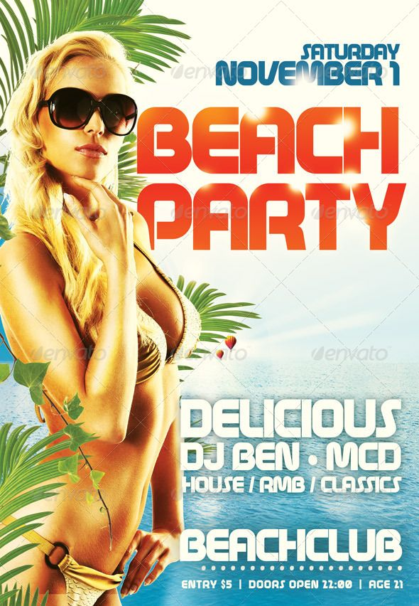 Flyer Template Beachparty | Flyer template, Template and Print templates