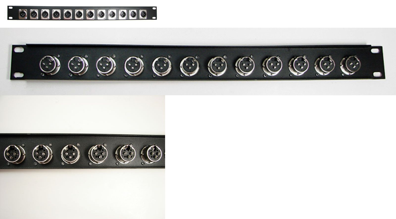 Black Pre-Punched for 12 XLRs 1U Procraft 16 ga Formed Aluminum Rack Panel