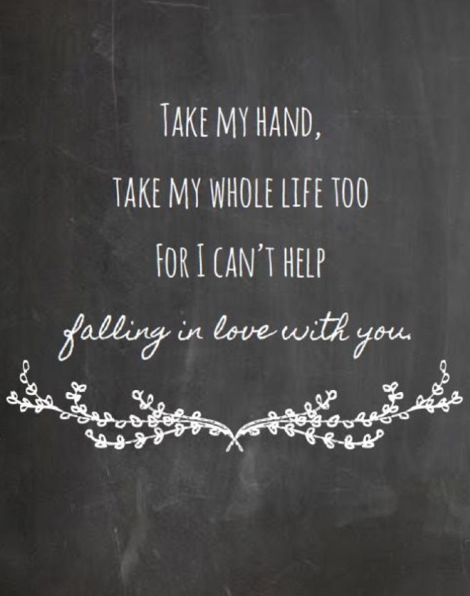 Can/'t Help Falling In Love Song Lyric Vintage Script Quote Print