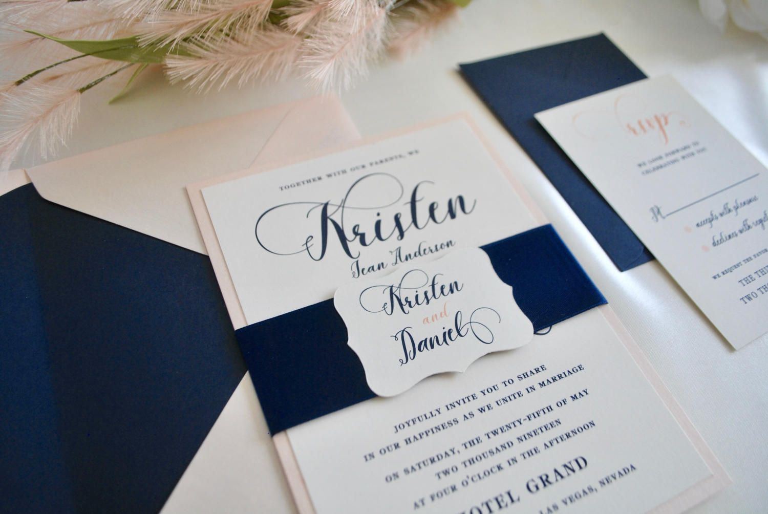 Price Packages Range From 2 75 5x7 Invitation Is Printed On Cream Cardstock And Mounted Blue And Blush Wedding Blush Wedding Invitations Wedding Invitations