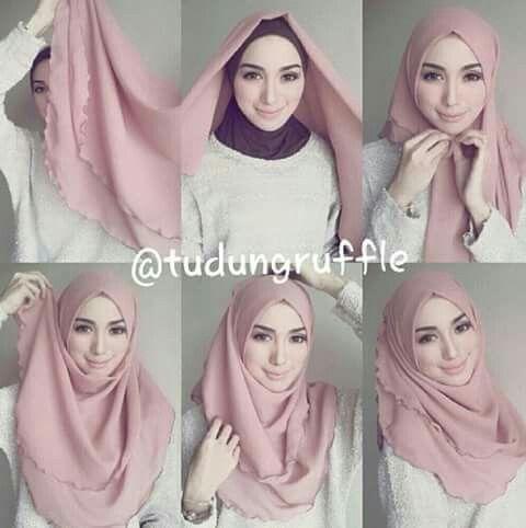 Tudung Ruffle Gaya Hijab Kerudung Kursus Hijab
