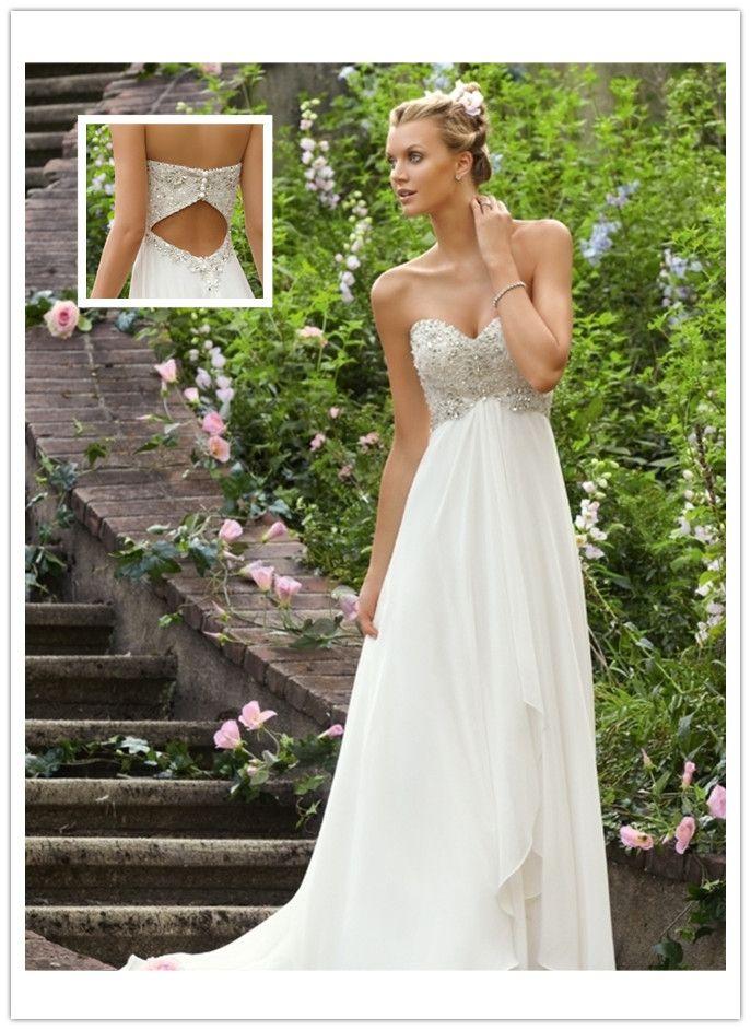 Empire Waist Sweetheart Chiffon Beading Wedding Dresses I think it ...