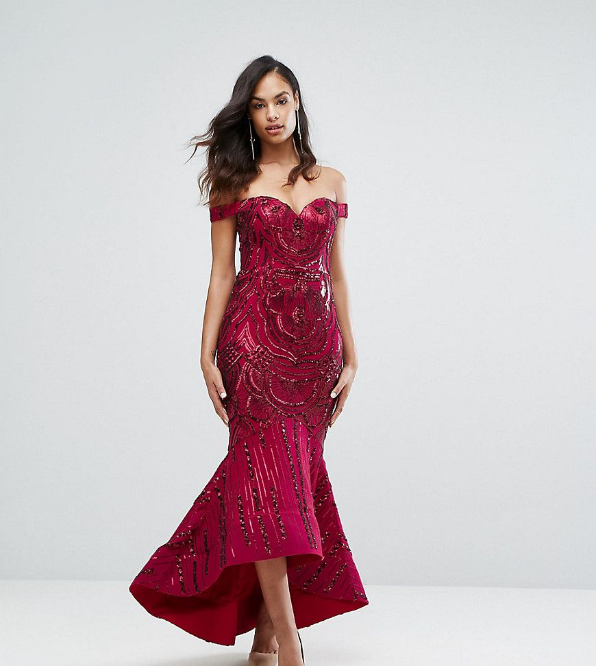 b4510ffce1f BARIANO OFF SHOULDER SWEETHEART SEQUIN MAXI DRESS - RED.  bariano  cloth
