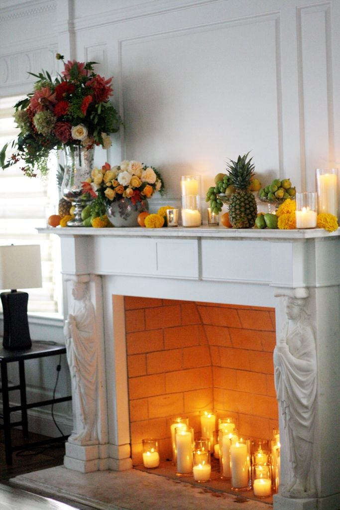 Fireplace Decoration Candles In Fireplace Fireplace