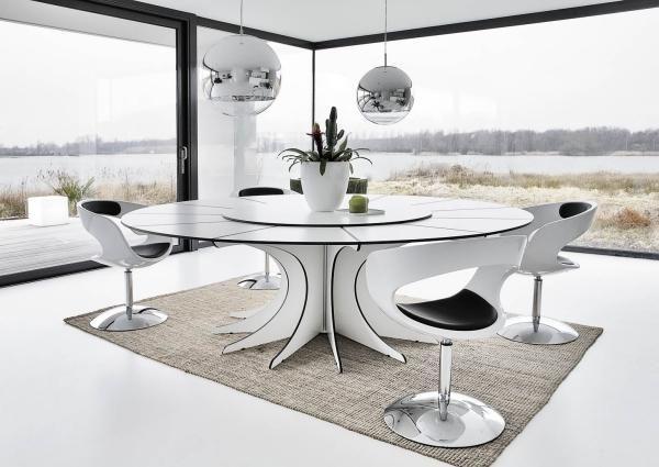 Esstisch Design-innovativ schwarz-weiß Kontraste-Stuhldesign - esszimmer design schwarz weis kontraste