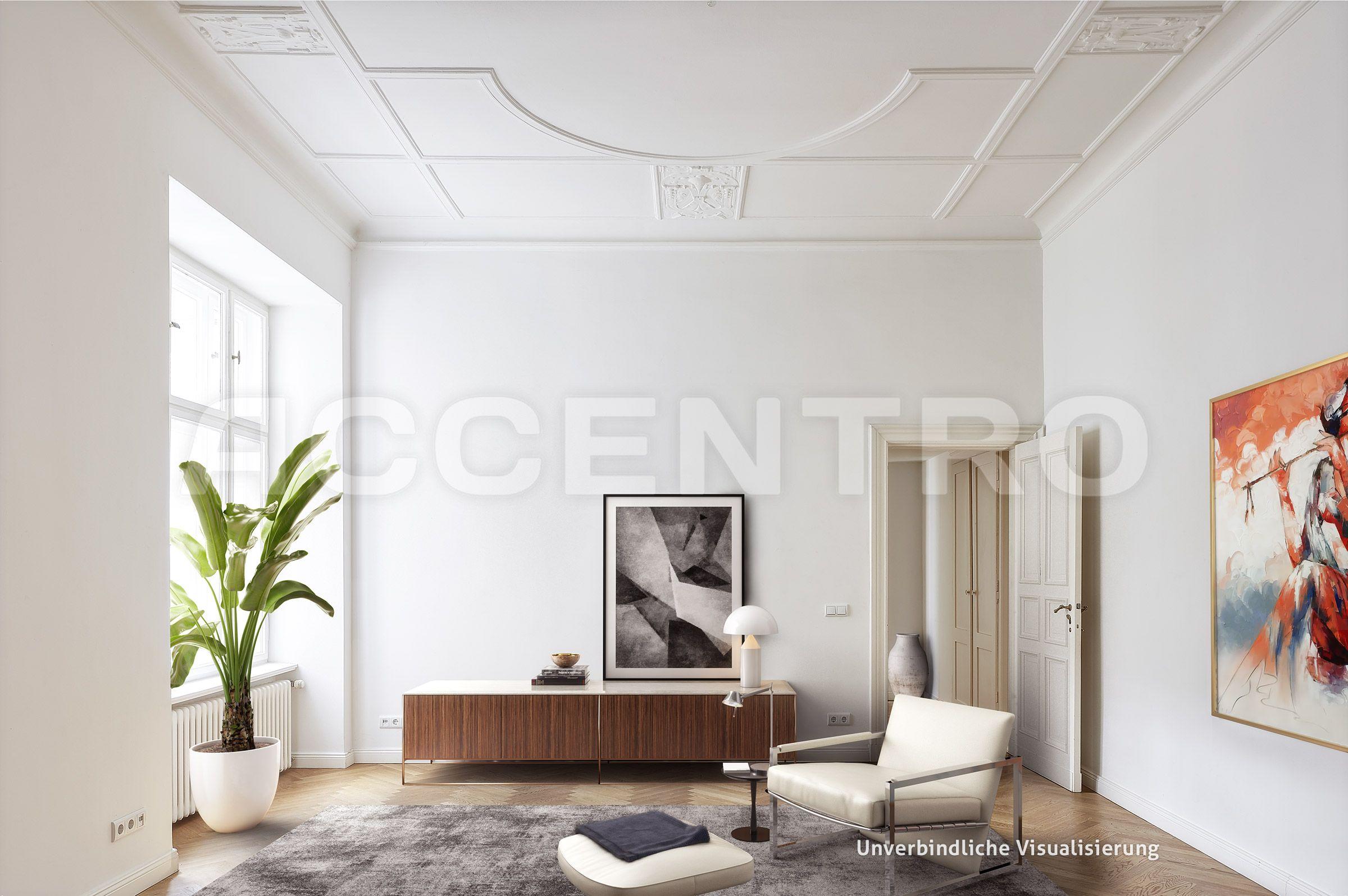 Luxurioses Wohnzimmer Mit Deckenstuck Und Dezenten Wandbildern Altbau Antrazit Ledersessel Weisse Couch P Wohnung 2 Zimmer Wohnung Wohnung Schlafzimmer