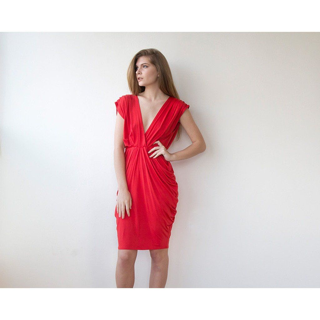 Red bridesmaids midi dress products pinterest bridesmaid midi
