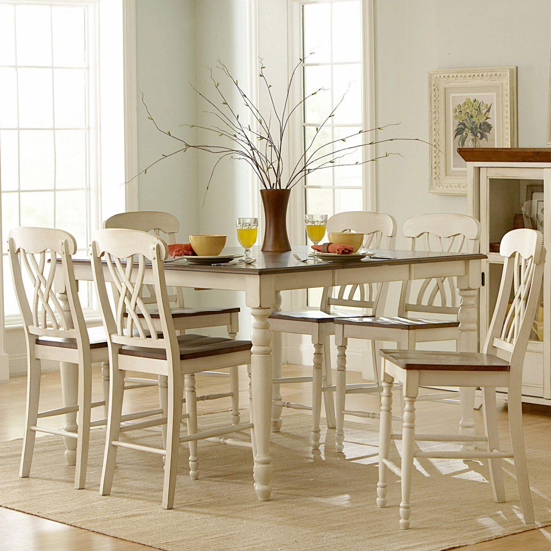 Weston Home Ohana 7 Piece Square Counter Height Set - Antique White & Cherry - HME2111 | White ...