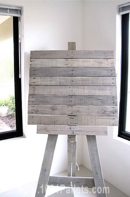 easel from recycled pallet slats mariage pinterest chevalet plans de table et affichage. Black Bedroom Furniture Sets. Home Design Ideas