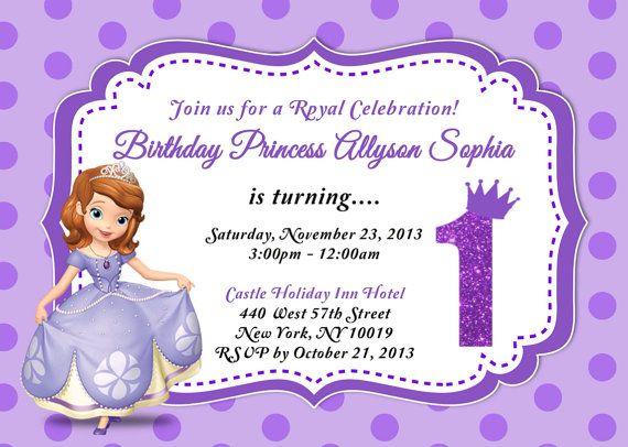 Custom Photo Invitations Sofia The First Birthday Invitation You
