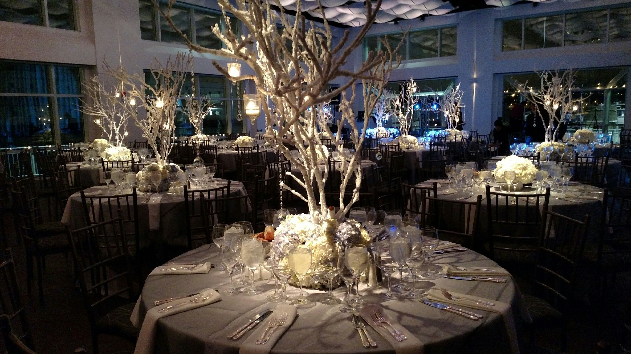 Winter White Wedding Centerpiece   Current, Pier 59 NYC