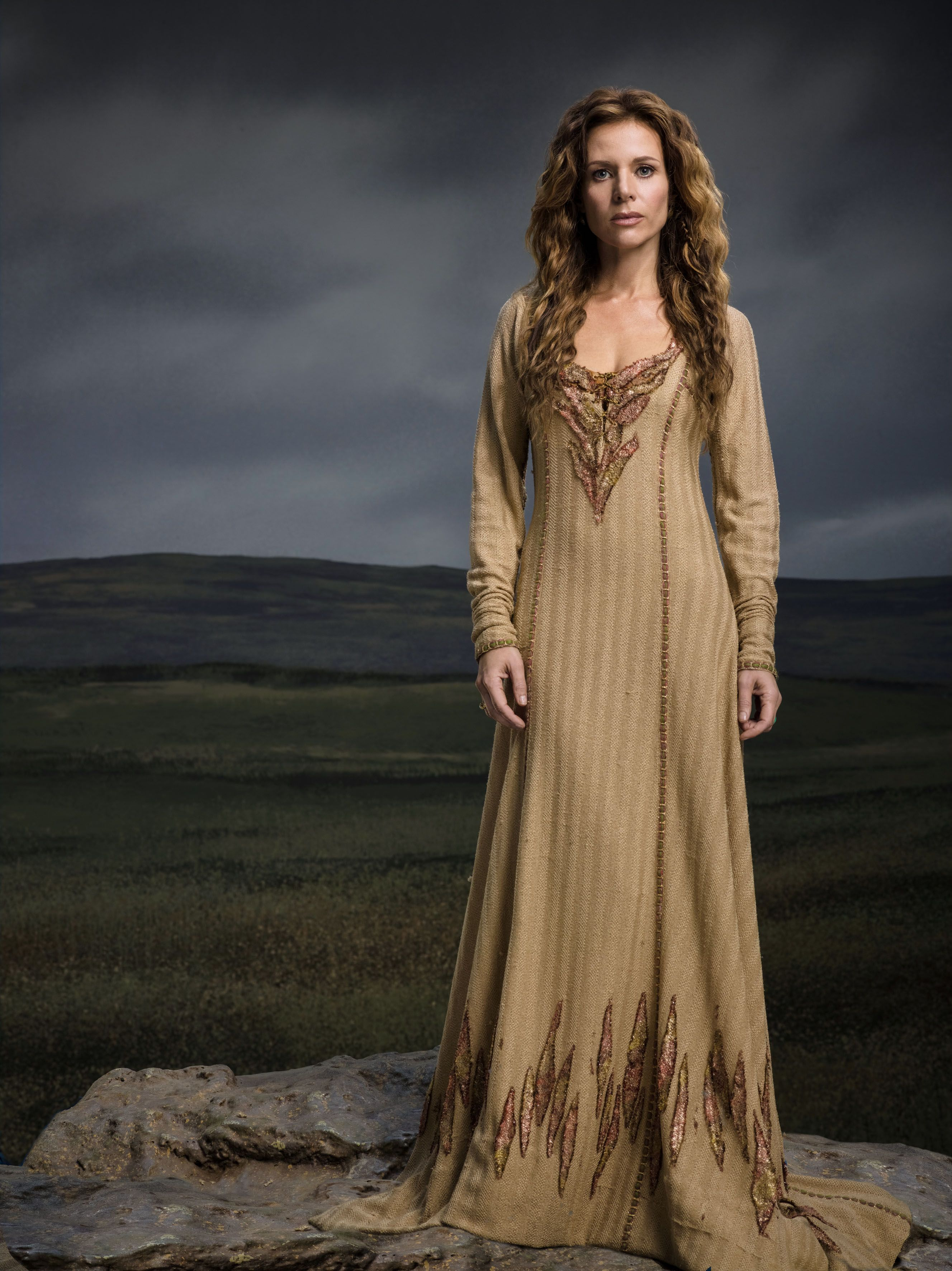 Beautiful, long, earthy toned gown. Possible a night gown.