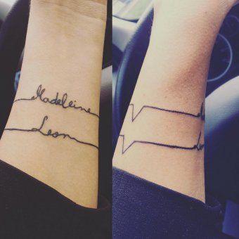 tatouage prenom enfants rythme cardiaque bracelet poignet tatouages pinterest tatouage. Black Bedroom Furniture Sets. Home Design Ideas