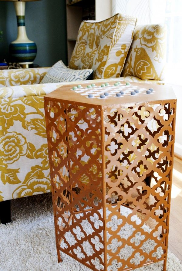 Great DIY idea for Moroccan accent table use pierced aluminium sheeting.