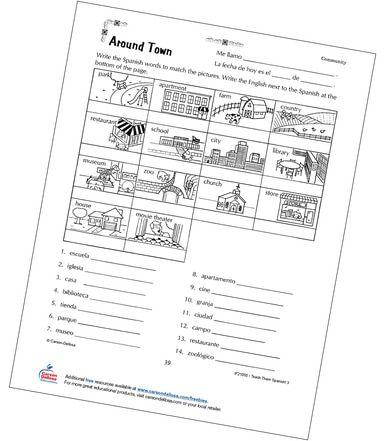 Places Around Town Grade 3 Spanish Free Printable