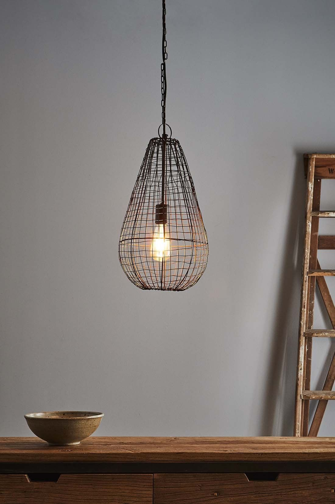 An Open Wire Weave Pendant In Rust Finish That Creates Visual Interest While Maintaining An Open Feel To The R Wicker Lamp Shade Pendant Lighting Pendant Light