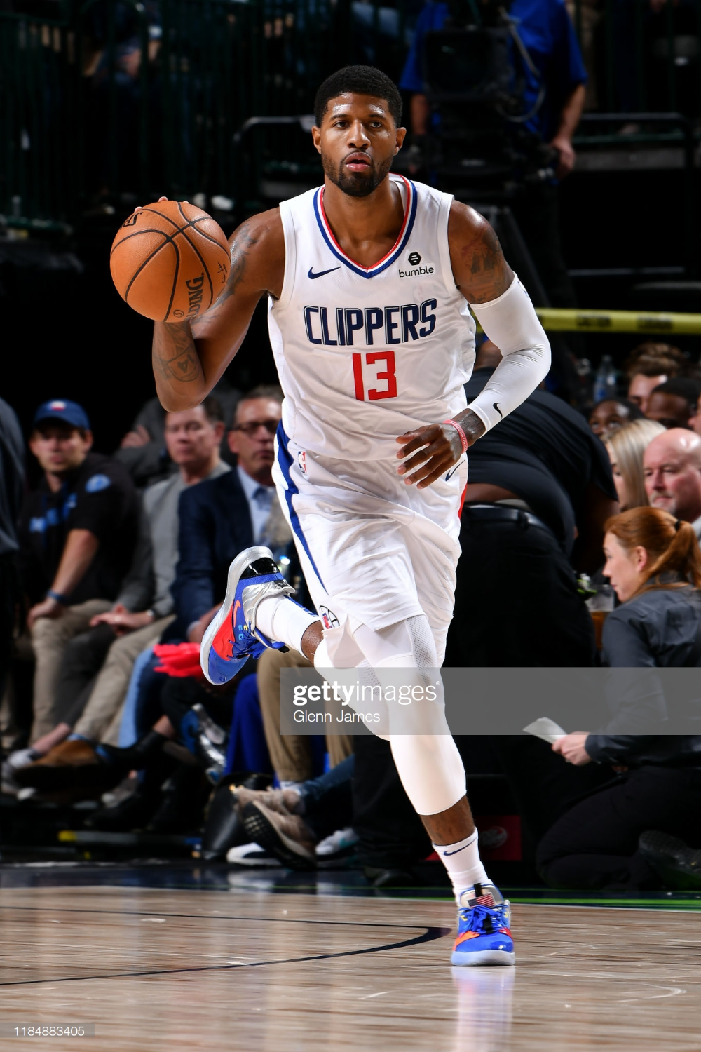 Paul George Of The La Clippers Handles The Ball Against The