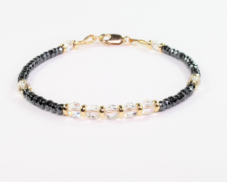 Gemstone bracelet for women womens beaded hematite bracelet womens