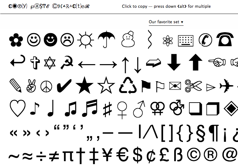 SYMBOLS TO COPY AND PASTE - cikes daola