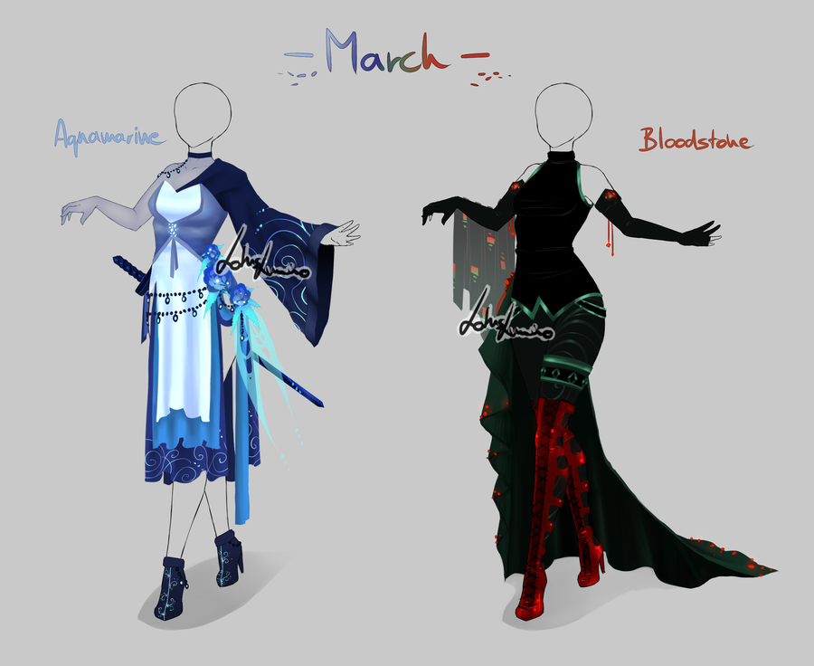 Outfit Design Birthstones March Closed By Lotuslumino On Deviantart Art Clothes Fantasy Clothing Character Design
